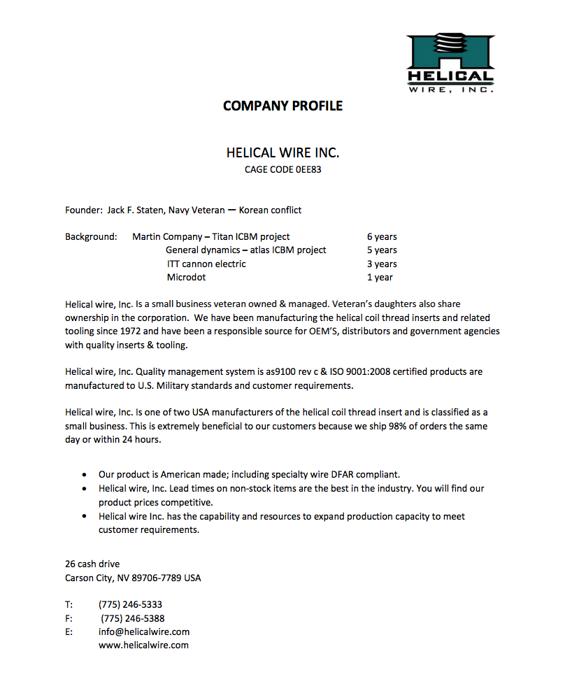 Helical Wire Company Profile